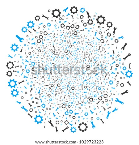 Setup Tools fireworks round cluster. Object pattern created from scattered setup tools pictographs as festive circle. Vector illustration style is flat iconic symbols.