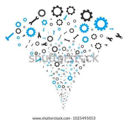 Setup Tools stream fountain. Vector illustration style is flat iconic symbols. Object fountain constructed from random icons as setup tools fireworks.