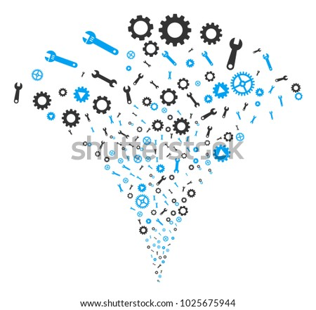 Setup Tools stream fountain. Vector illustration style is flat iconic symbols. Object fountain organized from random design elements as setup tools fireworks.