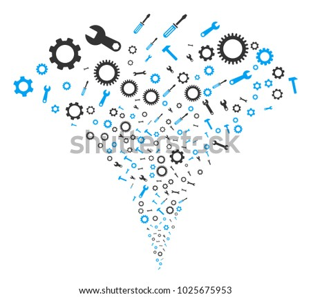Setup Tools stream fountain. Vector illustration style is flat iconic symbols. Object fountain organized from random pictographs as setup tools fireworks.