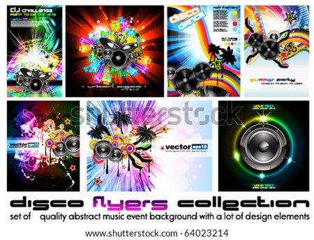Seven Abstract Music Background for Discoteque Flyer with a lot of design elements - Set 6