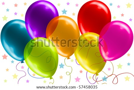 Seven Beautiful Party Balloons, no transparency version in my gallery