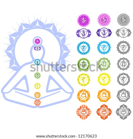 Seven Chakras And Spirituality Symbols Stock Vector 12170623 ...