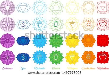 Seven Chakras, Chackra set, healing Stock photo ©