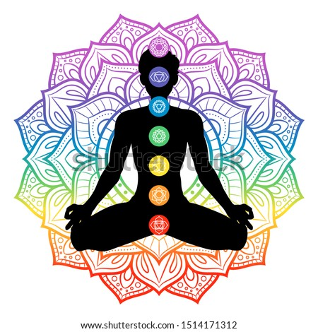 Seven chakras on meditating yogi man silhouette, vector illustration Сток-фото ©