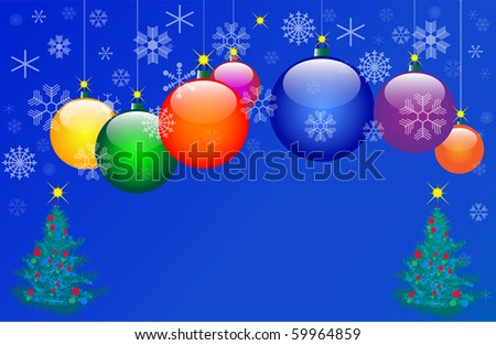 Seven Color Christmas balls. Vector EPS10 illustration