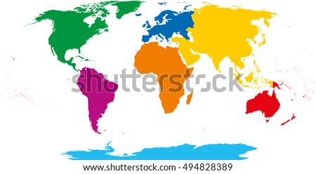 seven continents map asia