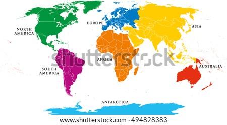 Vector de mapas de continentes del mundo descargue grficos y seven continents map with national borders asia africa north and south america gumiabroncs Image collections