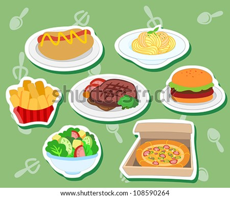 stickers with hotdog, hamburger; steak, pizza, salad, fries,and pasta