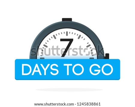 Seven day to go label, alarm clock flat with blue ribbon, promotion icon, best deal symbol vector illustretion. Stock foto ©