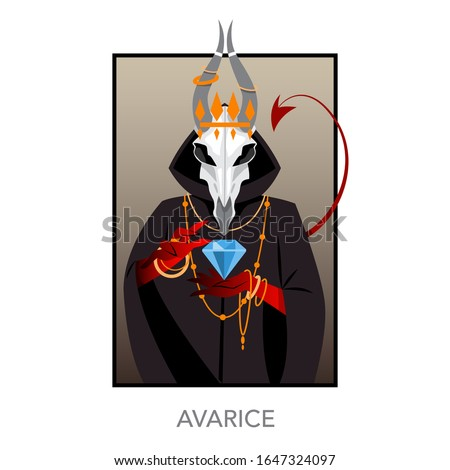 Seven deadly sins concept. Christian bible character with horn and red tail. Symbol of greed and avarice. Vector illustration. Foto stock ©