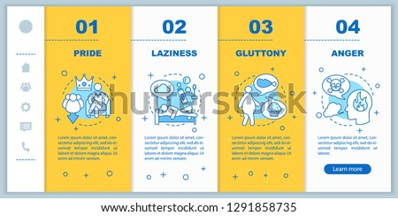 Seven deadly sins onboarding mobile app page screen vector template. Christianity. Pride, anger, gluttony, laziness walkthrough steps with linear illustrations. UX, GUI smartphone interface concept