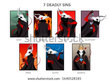 Seven deadly sins set. Christian bible character. Anger, envy, lust and glottony. Pride, sloth and avarice. Vector illustration. Foto stock ©