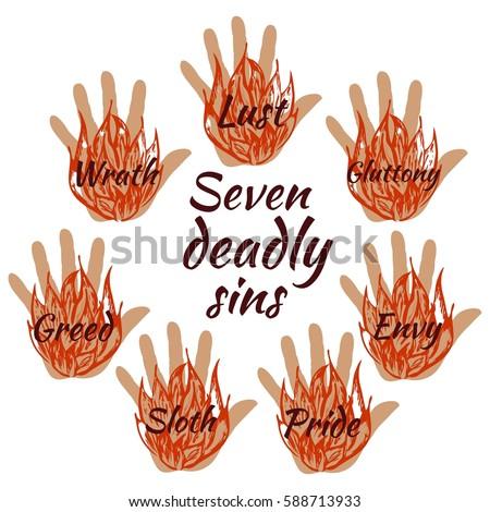 seven deadly sins vector