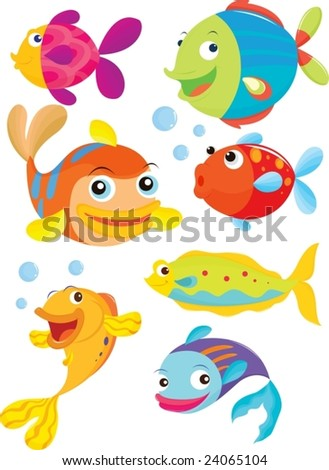seven fish swimming and blowing bubbles - stock vector