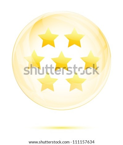 Seven golden star in the glass sphere isolated on white