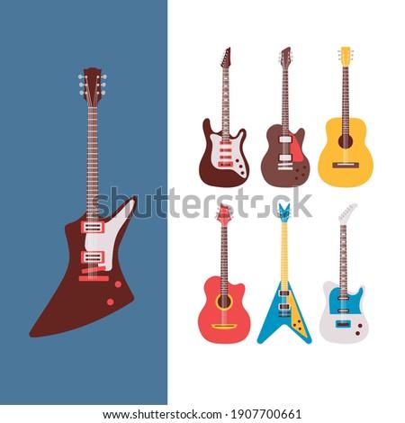 seven guitars instruments