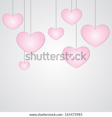 Seven hanging small pink hearts with simple lace-like outline on laconic pure light grey background