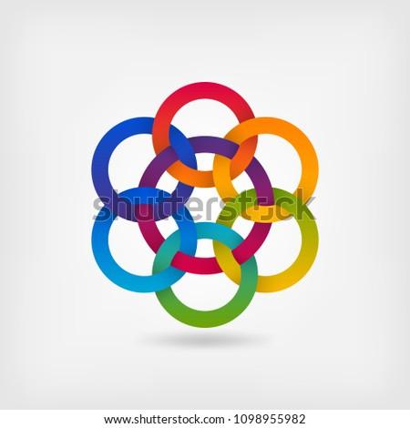 seven interlocked circles in gradient rainbow colors. vector illustration - eps 10