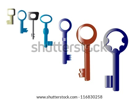 Seven Keys to the old locks, each other, all historical unused now