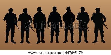 seven military silhouettes