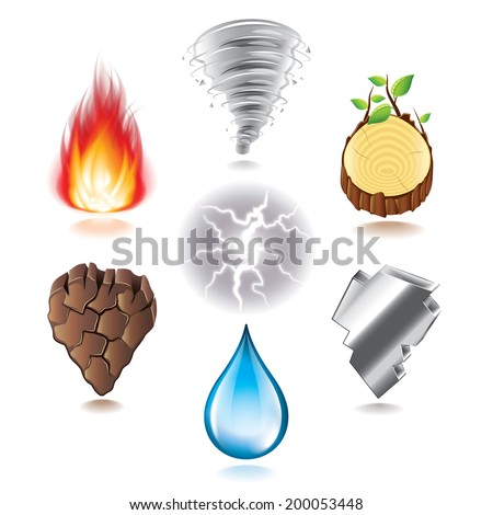 seven natural elements icons