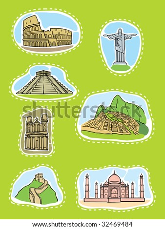 Seven outstanding structures of the world a vector illustration