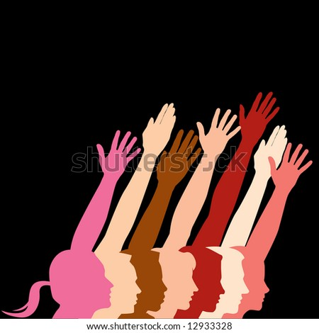 Seven people in profile with hands raised.  With space for text