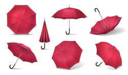 Seven red realistic umbrella icon set with different sides of umbrella canes on white background vector illustration