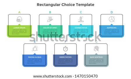 Seven square elements or rectangular frames placed in horizontal row. Visualization of 7-stepped business process. Simple infographic design template. Flat vector illustration for presentation, report