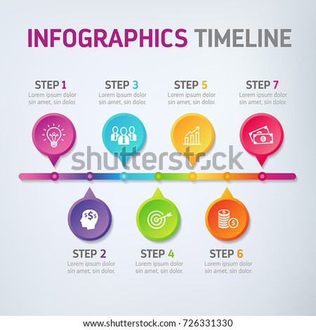 Seven steps infographics - can illustrate a strategy, workflow, team work, options or way to success.