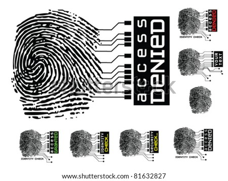 Seven variations of fingerprint security graphic.  Global colors, no meshes, no flattened transparencies. - stock vector