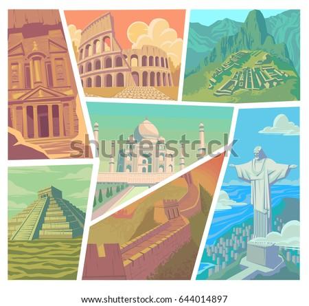 Seven wonders of the modern world vector illustration Great Wall of China Petra The Colosseum Chichen Itza Machu Picchu Taj Mahal Christ the Redeemer
