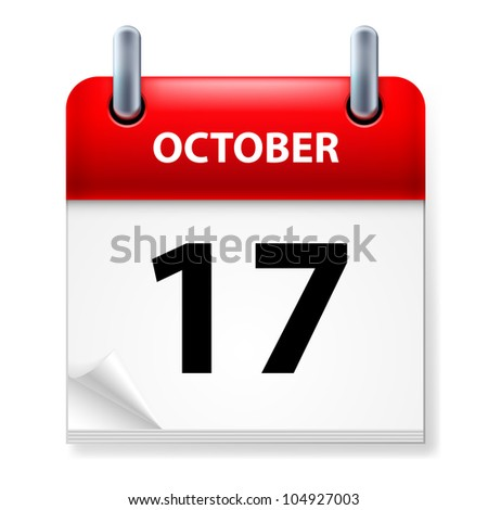 Seventeenth October in Calendar icon on white background