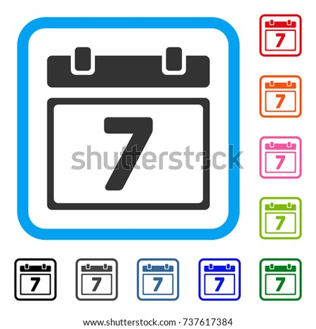 Seventh Day icon. Flat grey iconic symbol inside a light blue rounded rectangular frame. Black, gray, green, blue, red, orange color variants of Seventh Day vector. Stock foto ©