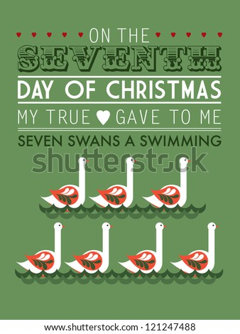 Template vector illustration seven swans a swimming stock vector