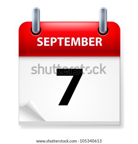 Seventh September in Calendar icon on white background