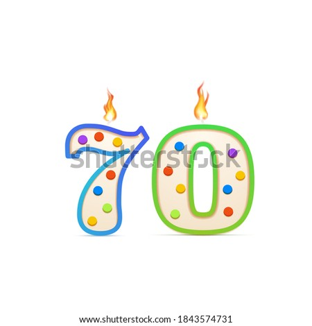 Seventy years anniversary, 70 number shaped birthday candle with fire isolated on white ストックフォト ©