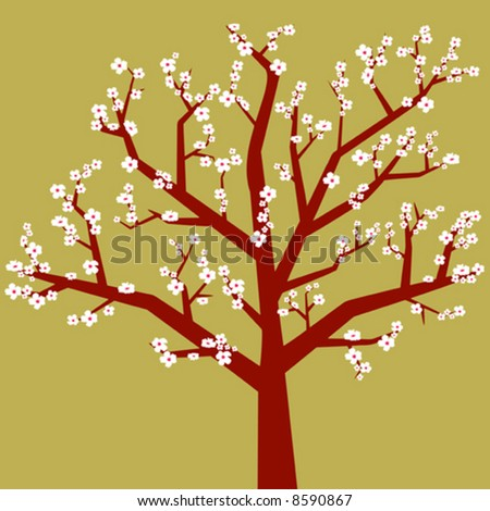 Several almond tree branches with flowers stock vector