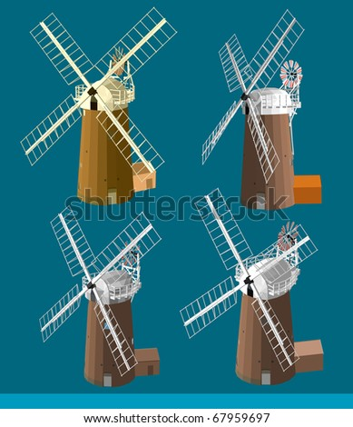 several angle of windmills vector. very detail vector. please see the others