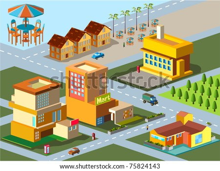 several building isometric. very detail isometric vector