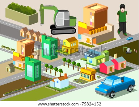 several building isometric. very detail isometric vector - stock vector