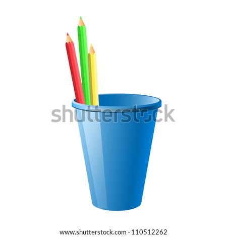 Several color pencils: green, red, yellow in a blue cup isolated against white background.