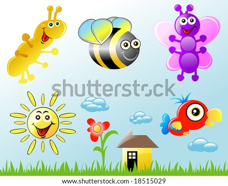 ... include: caterpillar, bee, butterfly, sun and a parrot. - stock vector