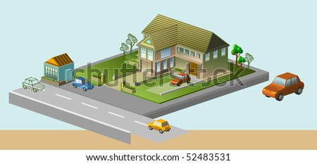 several house isometric. see the others. very detail vector illustration