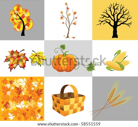 Several icons of autumn, trees and vegetables