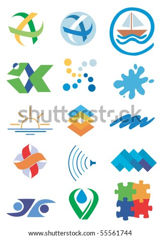 Several icons, symbols of nature and water. Vector illustration.