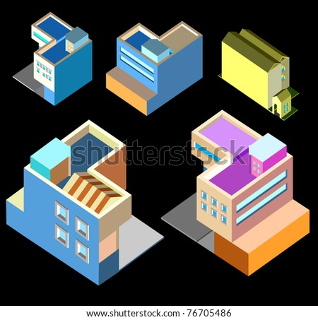 several isometric building
