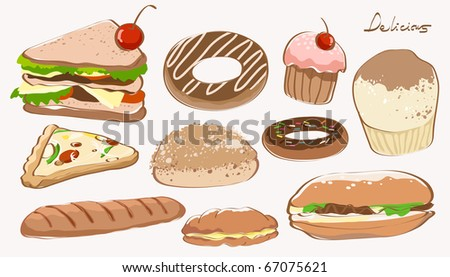 several kind of food. very detail and complete vector illustration stock.