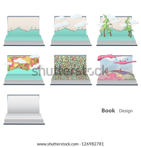 Several open books with multiple landscape. Vector design.